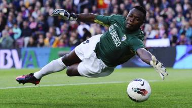 Carlos Kameni of Malaga CF in action during the La Liga match between FC Barcelona and Malaga CF at Camp Nou Stadium on May 2, 2012 in Barcelona, Spain. Getty Images