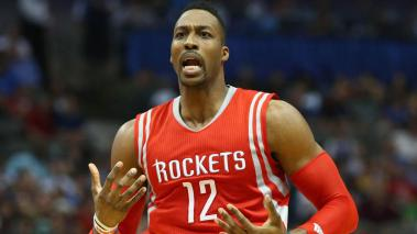 Dwight Howard #12 of the Houston Rockets at American Airlines Center on April 2, 2015 in Dallas, Texas. (Photo by Ronald Martinez/Getty Images)