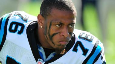 Greg Hardy #76 of the Carolina Panthers against the Dallas Cowboys during play at Bank of America Stadium on October 21, 2012 in Charlotte, North Carolina. The Cowboys won 19-14. (Photo by Grant Halverson/Getty Images)