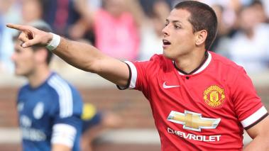 Javier 'Chicharito' Hernandez of Manchester United celebrates scoring their third goal during the pre-season friendly match between Manchester United and Real Madrid. (Getty Images)