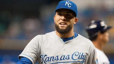 Kelvin Herrera #40 of the Kansas City Royals smiles as he walks off the field after pitching against the Tampa Bay Rays August 28, 2015 at Tropicana Field in St. Petersburg, Florida. (Getty Images)