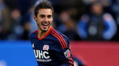 Diego Fagundez #14 of New England Revolution reacts in the second half against the New York City FC at Yankee Stadium on March 15, 2015 in the Bronx borough of New York City. (Photo by Elsa/Getty Images)