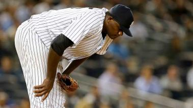 Michael Pineda #35 of the New York Yankees reacts after giving up a three run home run to Blake Swihart of the Boston Red Sox on September 29, 2015 at Yankee Stadium in the Bronx. (Getty Images)