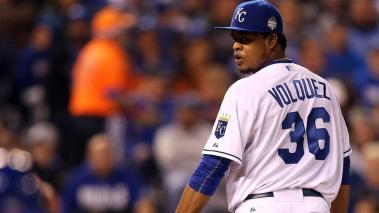 Edinson Volquez #36 of the Kansas City Royals prepares to throw a pitch in the fourth inning against the New York Mets during Game One of the 2015 World Series at Kauffman Stadium on October 27, 2015 in Kansas City, Missouri. (Getty Images)