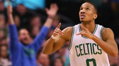 Avery Bradley #0 of the Boston Celtics celebrates after hitting a three point shot. (Photo by Maddie Meyer/Getty Images)