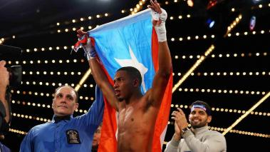 Felix Verdejo celebrates after defeating William Silva to retain the WBO Latino Champioship at Madison Square Garden on February 27, 2016 in New York City. (Photo by Mike Stobe/Getty Images)