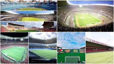 Collage de estadios del fútbol mexicano