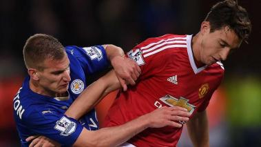 Matteo Darmian of Manchester United and Marc Albrighton of Leicester City during the Barclays Premier League at The King Power Stadium on November 28, 2015 in Leicester, England. (Getty Images)