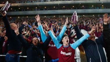 West Ham fans enjoy the atmosphere after the Premier League match between West Ham United and Manchester United at the Boleyn Ground on May 10, 2016 in London, England. (Getty Images)