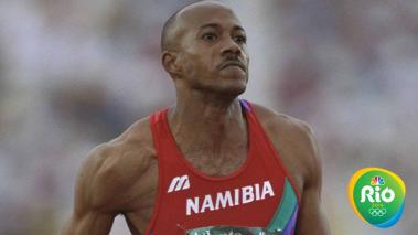 Frankie Fredericks of Namibia in action during the second round of the mens 100 metres at the Olympic Stadium at the 1996 Centennial Olympic Games in Atlanta, Georgia. Mandatory Credit: Mike Hewitt /Allsport/Getty Images