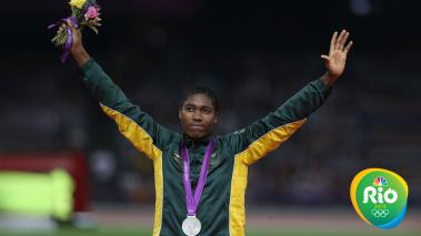 Silver medalist Caster Semenya of South Africa poses on the podium during the medal ceremony for the Women's 800m on Day 15 of the London 2012 Olympic Games at Olympic Stadium on August 11, 2012 in London, England. (Photo by Clive Brunskill/Getty Images)