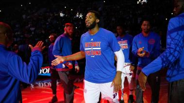 AUBURN HILLS, MI - APRIL 24: Andre Drummond #0 of the Detroit Pistons is introduced prior to playing the Cleveland Cavaliers in game four of the NBA Eastern Conference quarterfinals during the 2016 NBA Playoffs at the Palace of Auburn Hills on April 24, 2