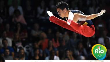 Calvo Moreno Jossimar of Colombia competes to a gold medal in the artistic gymnastic men's parallel bars final during the 2015 Pan Am Games at the Toronto Coliseum on July 15, 2015 in Toronto, Canada. (Photo by Harry How/Getty Images)