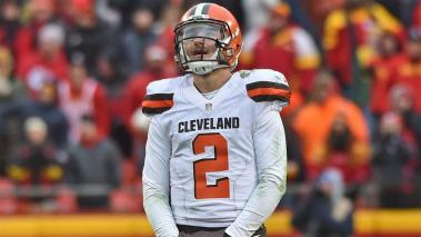 KANSAS CITY, MO - DECEMBER 27: Quarterback Johnny Manziel #2 of the Cleveland Browns reacts after turning the ball over on downs against the Kansas City Chiefs during the second half on December 27, 2015 at Arrowhead Stadium in Kansas City, Missouri. (Pho