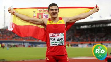 AMSTERDAM, NETHERLANDS - JULY 08: Bruno Hortelano of Spain celebrates winning the gold medal in the final of the mens 200m on day three of The 23rd European Athletics Championships at Olympic Stadium on July 8, 2016 in Amsterdam, Netherlands. (Photo by Ia