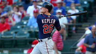 ARLINGTON, TX - JULY 07: Max Kepler #26 of the Minnesota Twins hits in the first inning during a game against the Texas Rangers at Globe Life Park in Arlington on July 7, 2016 in Arlington, Texas. (Photo by Sarah Crabill/Getty Images)