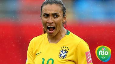 MONCTON, NB - JUNE 21: Marta #10 of Brazil reacts in the second half against Australia during the FIFA Women's World Cup 2015 round of 16 match between Brazil and Australia at Moncton Stadium on June 21, 2015 in Moncton, Canada. (Photo by Elsa/Getty Image