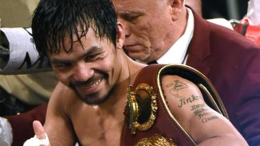 LAS VEGAS, NEVADA - APRIL 09: Manny Pacquiao celebrates as he leaves the ring after defeating Timothy Bradley Jr. by unanimous decision in their welterweight fight on April 9, 2016 at MGM Grand Garden Arena in Las Vegas, Nevada. (Photo by Ethan Miller/Ge