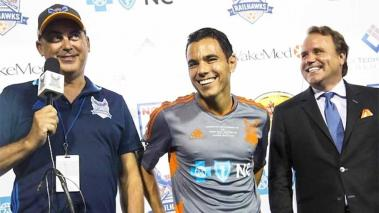 Omar Bravo, con el club RailHawks de Carolina
