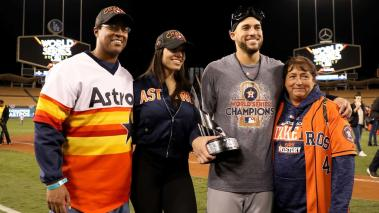 George Springer #4 of the Houston Astros holds the 2017 Willie Mays World Series Most Valuable Player (MVP) Award at Dodger Stadium on November 1, 2017 in Los Angeles, California. (Getty Images)