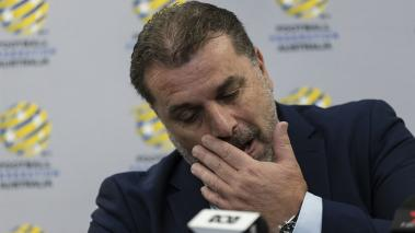 Ange Postecoglou announces he will step aside from his role as coach of the Socceroos during a FFA Socceroos press conference at Sydney Cricket Ground on November 22, 2017 in Sydney, Australia. (Getty Images)