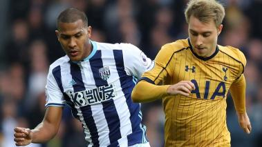Salomon Rondon of West Bromwich Albion closes down Christian Eriksen of Tottenham Hotspur during the Premier League match at The Hawthorns on October 15, 2016 in West Bromwich, England. (Getty Images)