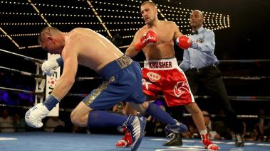 Vyacheslav Shabranskyyis knocked down by Sergey Kovalev during their Light Heavyweight at The Theater at Madison Square Garden on November 25, 2017 in New York City. (Getty Images)