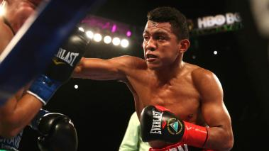 Roman Gonzalez (R) and Edgar Sosa in their WBC Flyweight World Championship fight at The Forum on May 16, 2015 in Inglewood, California. (Getty Images)