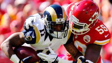 Tavon Austin #11 of the St. Louis Rams is tackled by Jerry Franklin #59 of the Kansas City Chiefs during the first half at Arrowhead Stadium on October 26, 2014 in Kansas City, Missouri. (Getty Images)