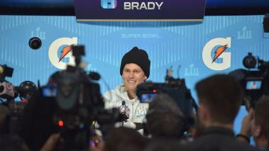 Tom Brady #12 of the New England Patriots speaks to the media during SuperBowl LII Media Day at Xcel Energy Center on January 29, 2018 in St Paul, Minnesota. (Getty Images)