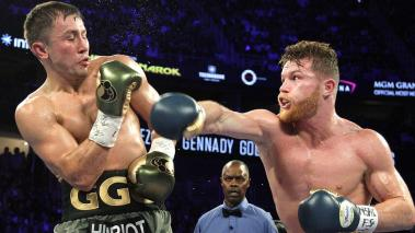 Canelo Alvarez and Gennady Golovkin battle of their WBC, WBA and IBF middleweight championship bout at T-Mobile Arena on September 16, 2017 in Las Vegas, Nevada. The boxers fought to a draw and Golovkin retained his titles. (Getty Images)