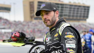 Jimmie Johnson, #48 Lowe's for Pros Chevrolet, stands on the grid prior to the Monster Energy NASCAR Cup Series Folds of Honor QuikTrip 500 at Atlanta Motor Speedway on February 25, 2018 in Hampton, Georgia. (Getty Images)