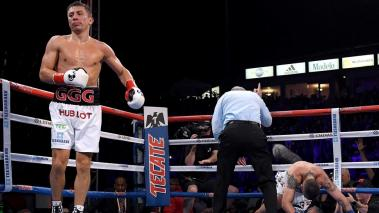 Gennady Golovkin reacts as Vanes Martirosyan is counted out in a second round knockout during the WBC-WBA Middleweight Championship at StubHub Center on May 5, 2018 in Carson, California. (Getty Images)