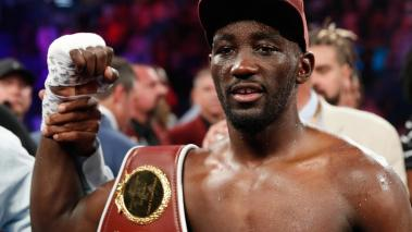 Terence Crawford celebrates his ninth-round TKO victory over Jeff Horn in their WBO welterweight title fight at MGM Grand Garden Arena on June 9, 2018 in Las Vegas, Nevada. (Getty Images)