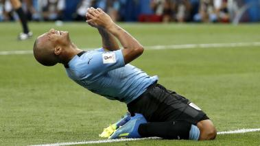 Carlos Sanchez of Uruguay reacts after missing a goal opportunity during the FIFA World Cup 2018 group A against Saudi Arabia in Rostov-On-Don, Russia, 20 June 2018. EFE