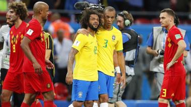 Brazilian players Marcelo (C-L) and Miranda (C-R) react after the FIFA World Cup 2018 quarter final soccer match between Brazil and Belgium in Kazan, Russia, 06 July 2018. Belgium won 2-1. EFE
