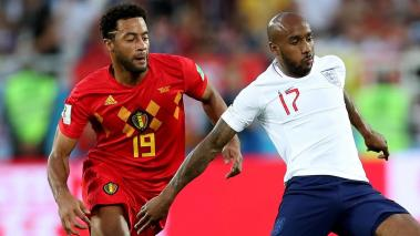 Fabian Delph of England controls the ball under pressure from Moussa Dembele of Belgium during the 2018 FIFA World Cup Russia group G match at Kaliningrad Stadium on June 28, 2018 in Kaliningrad, Russia. (Getty Images)