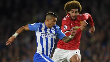 Anthony Knockaert of Brighton & Hove Albion is challenged by Marouane Fellaini of Manchester United during the Premier League match at Amex Stadium on May 4, 2018 in Brighton, England. (Getty Images)