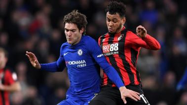 Marcos Alonso of Chelsea is challenged by Joshua King of AFC Bournemouth during the Premier League match at Stamford Bridge on January 31, 2018 in London, England. (Getty Images)