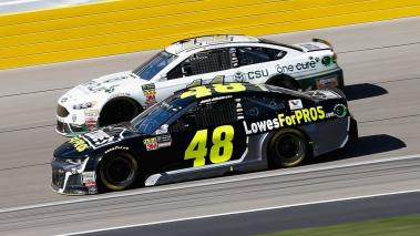 Jimmie Johnson, driver #48 Lowe's for Pros Chevrolet, and Clint Bowyer, driver #14 One Cure Ford, race during the Monster Energy NASCAR Cup Series 400 presented by Jiffy Lube at Las Vegas Motor Speedway on March 4, 2018 in Las Vegas, Nevada. Getty Images