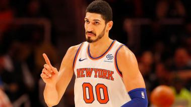 Enes Kanter #00 of the New York Knicks reacts after making a free throw against the Atlanta Hawks at State Farm Arena on November 7, 2018 in Atlanta, Georgia. (Getty Images)