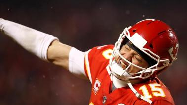 Kansas City Chiefs quarterback Patrick Mahomes reacts after teammate Tyreek Hill scored a touchdown against the Indianapolis Colts at Arrowhead Stadium in Kansas City, Missouri, USA, 12 January 2019. EFE