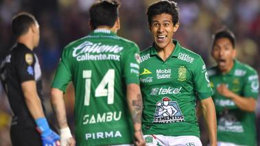 JUAN JOSE MACIAS celebrates his goal of Leon during the game America vs Leon, corresponding to the Semifinals first leg match of the Liga BBVA Bancomer MX Torneo Clausura 2019, at La Corregidora en Queretaro, Querétaro, May 16, 2019.  Mexsport