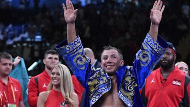 Gennady Golovkin of Kazakhstan reacts after defeating Steve Rolls of Canada in the fourth round during their Super Middleweights fight at Madison Square Garden on June 08, 2019 in New York City. (Getty Images)