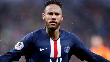 Lyon (France), 22/09/2019.- Paris Saint Germain's Neymar celebrates scoring the 1-0 lead during the French Ligue 1 soccer match between Olympique Lyon and PSG at Parc Olympique Lyonnais stadium in Lyon, France, 22 September 2019. (Francia) EFE/EPA