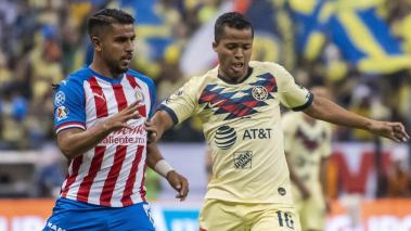 MIGUEL PONCE of Guadalajara and GIOVANI DOS SANTOS of America during the game America vs Guadalajara, corresponding to day 12 of the Torneo Apertura 2019 of the Liga BBVA MX, at Azteca Stadium, on September 28, 2019. Mexsport