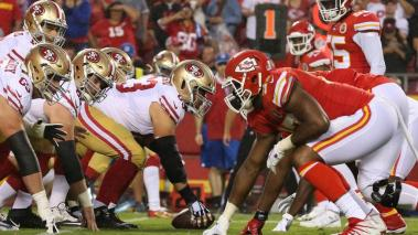 A view down the line of scrimmage before the snap in the first half of an NFL game between the San Francisco 49'ers and Kansas City Chiefs on August 24, 2019 at Arrowhead Stadium in Kansas City, MO. (Getty Images)