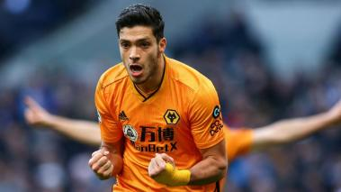 Raul Jimenez of Wolverhampton Wanderers celebrates scoring his side's third goal during the Premier League match between Tottenham Hotspur and Wolverhampton Wanderers at Tottenham Hotspur Stadium on March 1, 2020 in London, United Kingdom. (Getty Images)