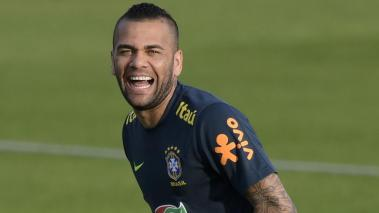 Brazil's defender Dani Alves laughs during a training session of the national team in Porto Alegre, Rio Grande do Sul, Brazil, on June 24, 2019, during the Copa America football tournament. Getty Images