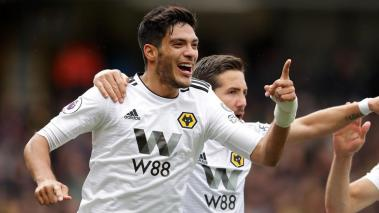 Raul Jimenez of Wolverhampton Wanderers celebrates against Watford FC at Vicarage Road on April 27, 2019 in Watford, United Kingdom. (Getty Images)
